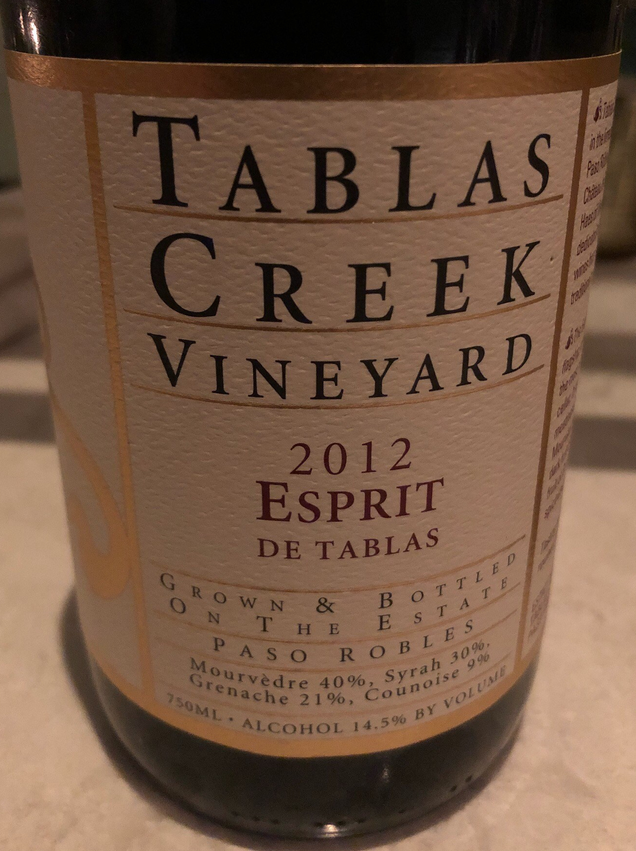 Tablas creek, esprit 2012